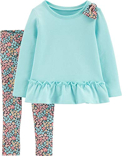 Carter's Girls' 2-Piece Long Sleeve Top and Legging Sets (24 Months, Turquoise/Floral)