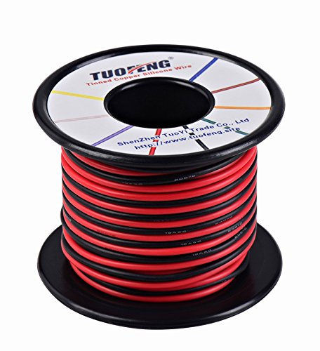 Price comparison product image 18awg Wire, 66 Feet Super Flexible Silicone Insulated Hookup Wire 33 ft Black and 33 ft Red 2 Separated Wires Tinned Copper Wire High Temperature Resistance for 3D Printer,RC Vehicle