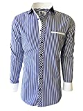 "Mens Dress Shirt - Stripe. Slim Fit (15.5"" Neck 35"" Sleeve, Blue)"