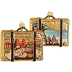 Morocco Suitcase Polish Glass Christmas Ornament Moroccan Travel Souvenir 051