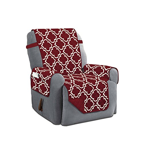 Austin Reversible Solid/Print Microfiber Furniture Protector With Strap & Side Pockets (Recliner, (Austin Leather Recliner)
