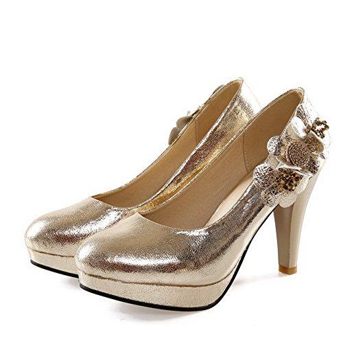 Chiusa on calzature Solido Pompe Weipoot Rotondo Punta tacchi Pull Oro Donne Smerigliato wx6nvnqI8T