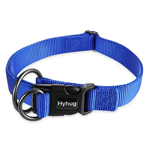 Hyhug Premium Comfy and Safety Classic Durable Nylon Solid Color Dog Collar with Easy to Get On/Off Deluxe Buckle - for Medium Dogs Walking, Professional Training and Daily Use.(Medium Bright Blue)