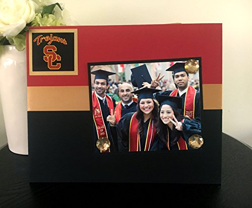 "(Trojans University Southern California USC College Football Team Gift handmade magnetic picture frame holds 5"" x 7"" photo 9"" x 11"" size)"