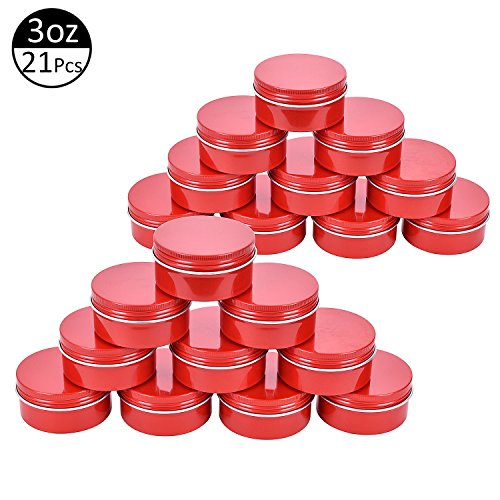 TMO Small Cookie Jars 3oz Round Tin Cans Aluminum Tin Jars Screw Top Metal Storage Containers Bulk Food Storage Cans(21 ()