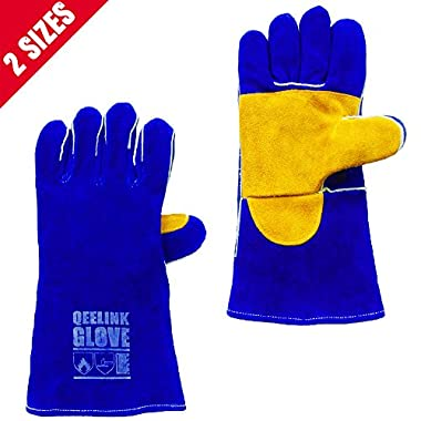 QeeLink Heat Resistant Welding Gloves - Reinforced Palm - Cotton Lined And Kevlar Stitching - Suitable For Gardening Gloves, Camping Gloves, Fireplace Gloves , Work Gloves (14-inch)
