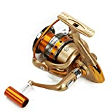 Hysenm Luxurious Full Metal Front Drag 5.5:1 Gear Ratio 3BB Saltwater Freshwater Fishing Spinning Reel With Left/Right Interchangeable Collapsible Arm