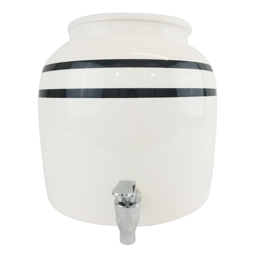 Lead-Free Porcelain Water Dispenser with Black Stripes and 27'' Black Wood Floor Stand by For Your Water (Image #4)