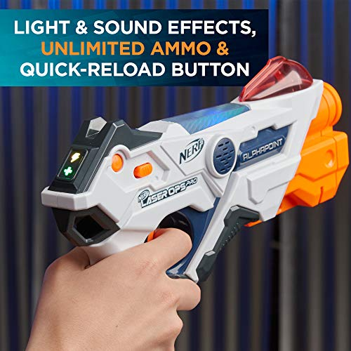 51NPwMaW0aL - AlphaPoint Nerf Laser Ops Pro Toy Blasters - Includes 2 Blasters & 2 Armbands - Light & Sound FX - Health & Ammo Indicators - For Kids, Teens & Adults