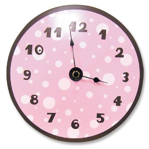 Brown Dot Clock (Trend Lab Pink/Brown Clock Pink Dot, Brown Number and)