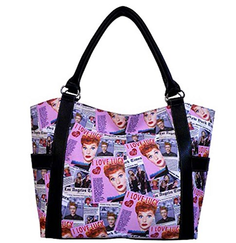 Love Tote Leather - I Love Lucy Pink Collage Large Tote Purse, LU614