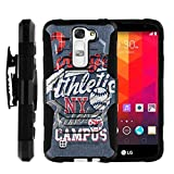 MINITURTLE Case Compatible w/ Case for LG Tribute 5 |[Armor Reloade ] Rugged Impact Hard Rubber Durable Unique Creative Cover + Belt Clip Blue College Sports