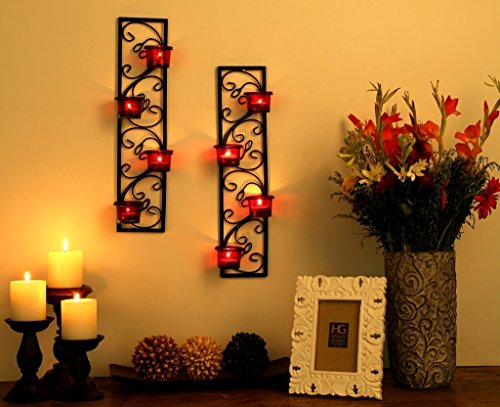 Hosley-Decorative-Wall-SconceCandle-Holder-with-Red-Glass-and-Free-T-Light-Candles-Set-of-2