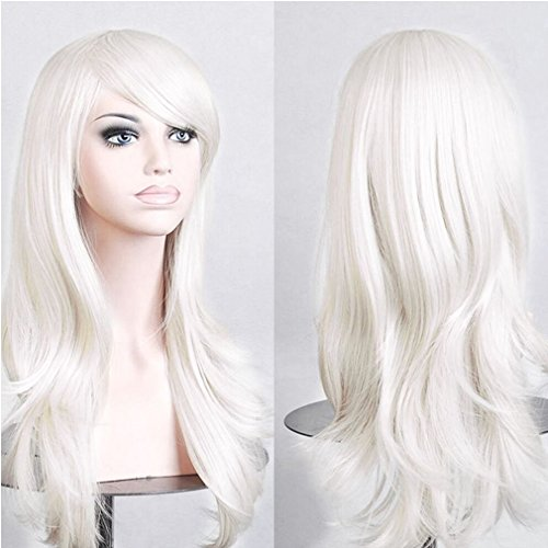 Diy White Lady Costume (Anime Cosplay Synthetic Wig 11 Colors Japanese Kanekalon Heat Resistant Fiber Full Wig with Bangs Long Layered Curly Wavy Vogue 23'' / 58cm for Women Girls Lady (White))