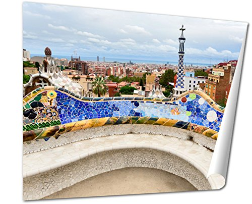 Ashley Giclee The Bench By Gaudi In Parc Guell Barcelona wall art poster print for bedroom, ready to frame, 16x20 Print (Barcelona Bench)