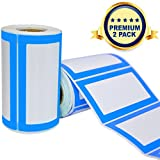 Colorful Plain Name Tag Labels - 2 Rolls 500 Stickers in Total - 3.5 x 2 inches - Nametags for Jars, Bottles, Food Containers, Folders, Birthday Parties and Kids Clothes (Blue/Blue 2 Pack)