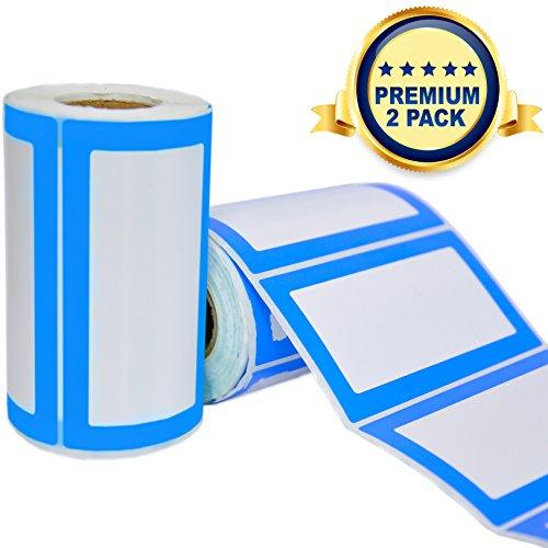 Etiquetas Adhesivas de Nombre Colores - 2 Rollos con 500 Pegatinas en Total - 9 x 5 cm - Etiquetas Personalizadas para Regalos, Frascos, Carpetas, Oficina, Fiestas de Cumpleanos y Ropa de Ninos
