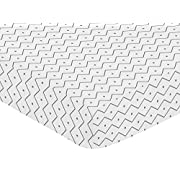 Sweet Jojo Designs Fitted Crib Sheet for Blue and Green Modern Dinosaur Baby/Toddler Bedding Set Collection - Grey Chevron Prehistoric Print