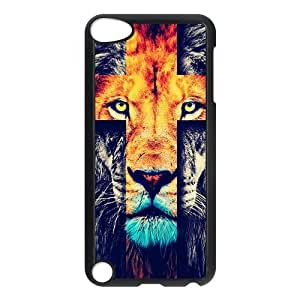 IPod Touch 5th Case,Fashion Lion Cross & Jesus Christ Cross Personalized Design Cover With Hign Quality Hard Plastic Protection Case