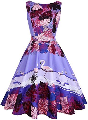 OWIN Women's 1950s Vintage Floral Rockabilly Swing Prom Party Cocktail Dress with Butterfly Pattern (XXL, Purple+Bird)