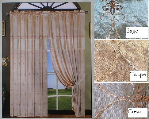 Nice Embroidery Based Windows Curtain /Draps - Sage