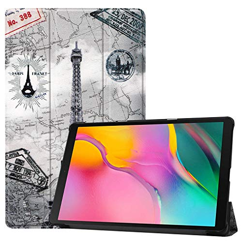 Case Compatible for Samsung Galaxy Tab A 10.1inch,Lightweight Smart Folio Protective Color Painting Cover with Auto Sleep/Wake Feature for Samsung Galaxy 2019 Tablet T515/T510 (Retro Iron Tower)