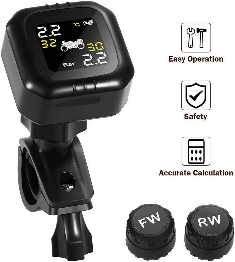 Tpms Motorrad Reifendruckkontrollsystem mit 2 Sensor LCD Display Anti Diebstahl /& Wasserdicht Reifendruck/überwachung Reifendruck-Autoalarmsyste f/ür Auto SUV KFZ