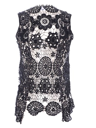 Anna-Kaci Womens Floral Crochet Lace Trim Sleeveless Open Front Vest Cardigan, Black, Small