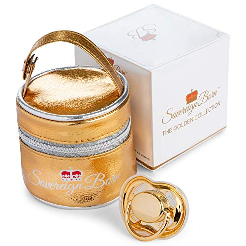 Sovereign Born Baby Pacifier with Carrying Case in Gold - Unisex Binky - Pacifiers for Infants - Luxurious Orthodontic Soothie for Babies - Silicone Nipple, Baby Shower Gift