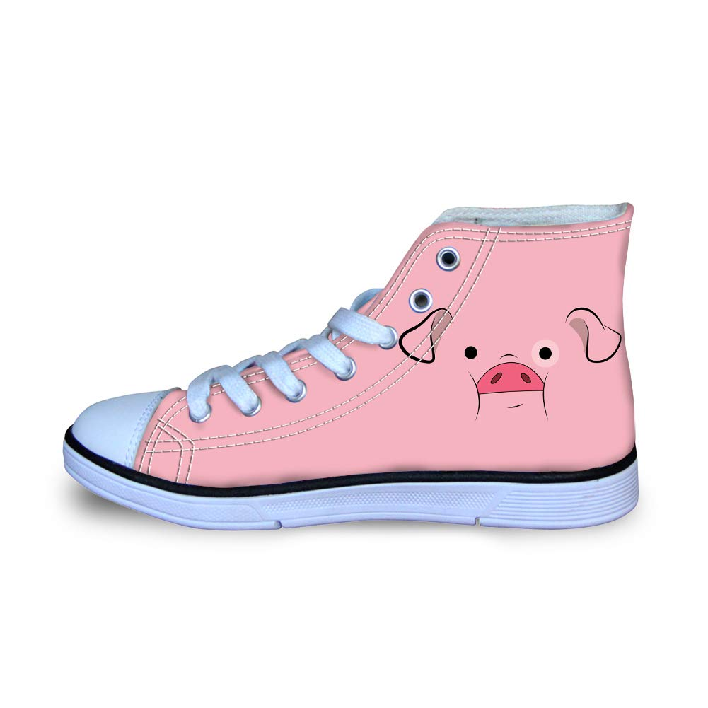 Canvas High Top Sneaker Casual Skate Shoe Boys Girls Pink Pig Hog Face