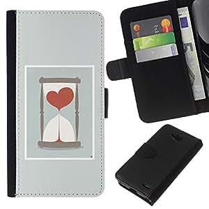 EJOY---La carpeta del tirón la caja de cuero de alta calidad de la PU Caso protector / LG OPTIMUS L90 / --Amor temporizador Embudo