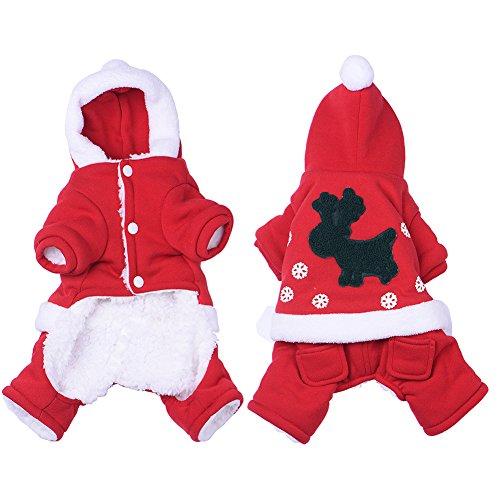 Navidad del perro de mascota suéter piernas de ciervo ropa ropa de abrigo ropa de color rojo - S