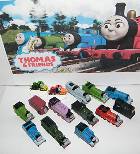 Thomas the Tank Engine Deluxe Party Favors Goody Bag Fillers Set of 14 with 12 Figures and 2 Train ToyRings Featuring Thomas, Bus Bertie, Diesel Marvis, Rosie and More!