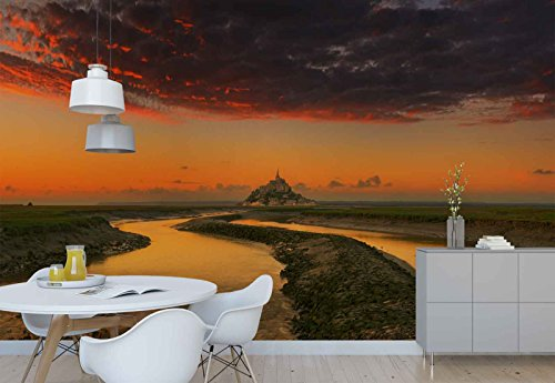 Photo wallpaper wall mural - Castle Dried River Canal Sky Panorama - Theme Travel & Maps - XL - 12ft x 8ft 4in (WxH) - 4 Pieces - Printed on 130gsm Non-Woven Paper - 1X-1322383V8 by Fotowalls Photo Wallpaper Murals