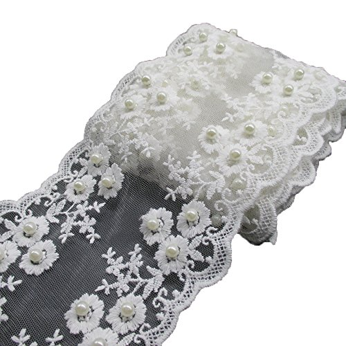 2 Yards 4-1/4 Inches White Cotton Floral Faux Pearls Embroidered Lace Trims Fabric DIY Craft Supply