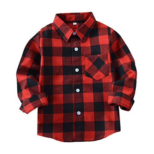 Long Flannel Kids Sleeve (Uwback Boys Long Sleeve Flannel Check Plaid Shirts E001 Red Black CN140)
