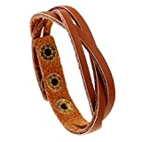 Hot Sale! OWMEOT Most Beloved Unisex Leather Charm Bracelets Punk Rock Vintage Geometric Wrap Bangles Wristband (D)