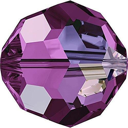 5000 Swarovski Crystal Beads Round Amethyst AB | 8mm - Pack of 10 | Small & Wholesale Packs