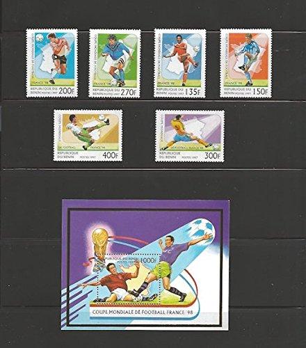 Benin - 1997 World Cup Soccer - 6 Stamp Set & Souvenir Sheet 2B-208