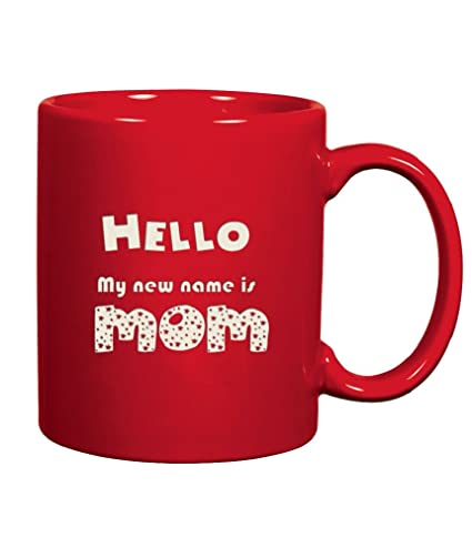 New Mama Coffee Mug Engraved Ceramic Gifts Both Side Etched With QuotHello
