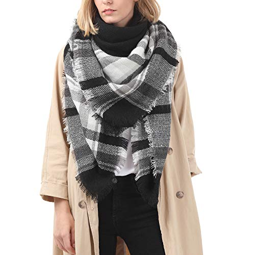 (Zando Womens Winter Scarf Tassel Fashion Plaid Blanket Scarves For Women Warm Tartan Wrap Shawl White Black)