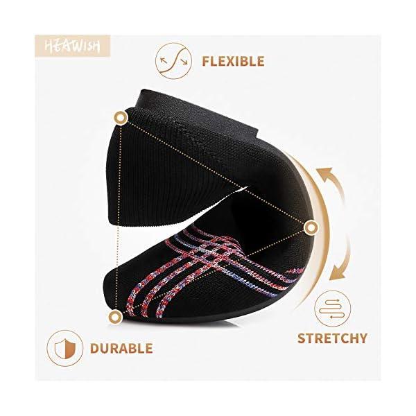HEAWISH Women's Comfortable Flats Shoes Round Toe Slip On Mesh Black Dress Shoes Ballet Flats