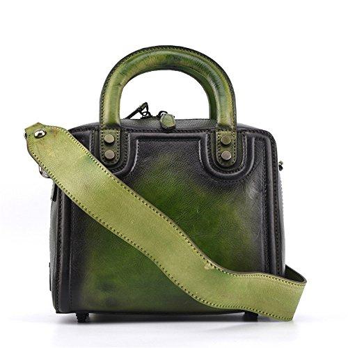 Adatto l'uso a stile Giallo Borsa Colore First mano per Layer colorata The Verde tinta tote capacità unita Grande Asdflina in retrò Of Leather quotidiano Handbag axAURAP