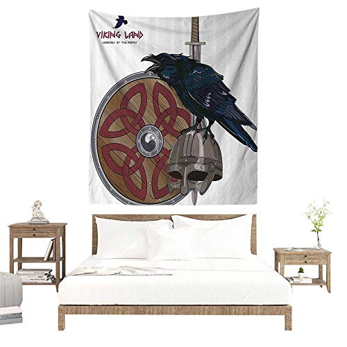 alisoso Tapestries for Sale,Viking,Raven on Steel Helmet Nordic Sword Shield Scandinavian Army Medieval Armour,Dark Blue Grey and Caramel W57 x L74 inch Wall Decoration Tapestry Beach Mat -