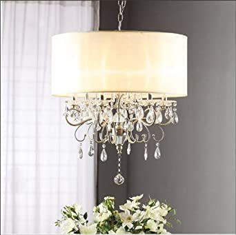 Silver Mist Hanging Crystal Drum Shade Chandelier Amazoncom - Chandelier with crystals and drum shade