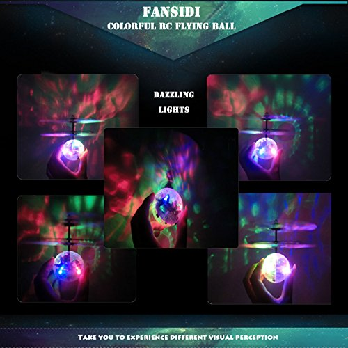 FANSIDI Flying Ball Toys, Crystal Flashing RC Toys - 2018 Newest Version Helicopter Ball Drone with Colorful LED Shinning Lights, Best Gifts Idea for Girls and Boys Remote Control Included