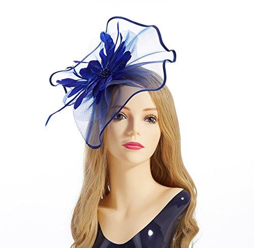 Fascinator Hat,Aiskki Fascinator Headband Feather Mesh Net Hat With Hairband,Tea Party Headwear,Flower Derby Hat with Clip,Kentucky Derby Hats for Women(Blue) by Aiskki (Image #7)