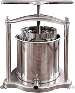 Fruit Wine Press, 5L/1.3Gal Stainless Steel Fruits Crusher with Filter Bag for Handmade Apple Cider Juice, Wine Making and Household Use