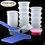 Arts & Crafts : ONME Slime Storage Containers, 25 Pack Foam Ball Storage Containers with Lid & 10pcs Slime Mixing Spoons for Slime Beads, Leak-proof Clear Plastic Storage Box Slime (20g)