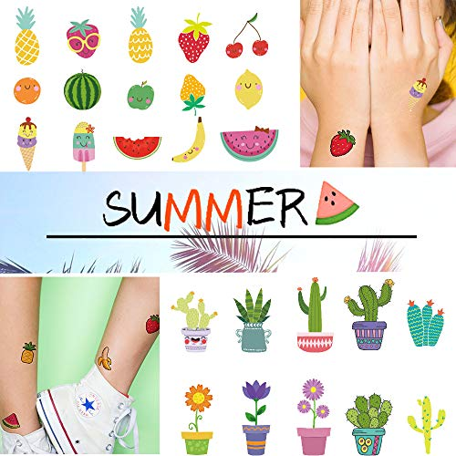 Ooopsi Fruit Temporary Tattoos for Kids – More Than 160 Tattoos (15 Sheets) – Waterproof Cartoon Summer Tattoos Sticker for Children Birthday Party Favors